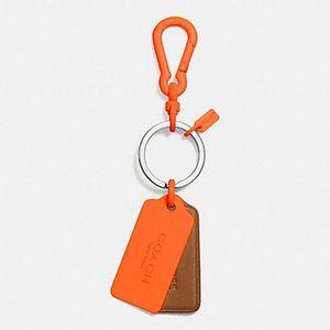 Coach Key Chain Ring Hang Tags Orange F63399 NWT